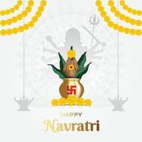 Happy Navratri, Durga puja Festival with Goddess Durga and Kalash vector