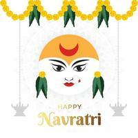Happy Navratri, Goddess Durga Face in Happy Durga Puja Subh Navratri with mandala in background vector