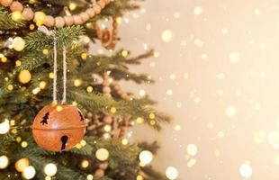 Christmas tree decorated in scandinavian style and defocused lights. Stock photo with copy space