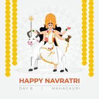Happy Navratri wishes, concept art of Navratri, illustration of 9 avatars of goddess Durga, Mahagauri Devi vector
