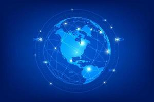 World map point line composition representing the global network connection. vector