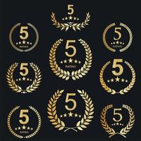 Collection of Golden Five stars rating icons template vector
