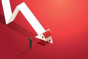 Home prices fall in real estate and property market crash. vector