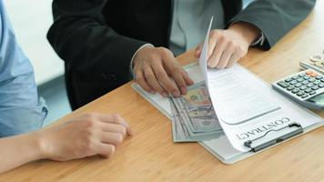 Corruption Concept, Government officials are accepting corruption payments that businessmen deliver. photo