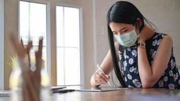 las mujeres asiáticas trabajan en casa para prevenir la propagación del virus coronario o covid-19. foto