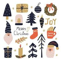 Cute hand drawn Christmas set in scandinavian style for greeting card design. Flat modern illustration. vector