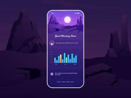 User Interface for Sleep Tracker App with Beautiful Scenery Theme vector