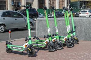 Ukraine, Kiev, Sep 13, 2021 - Electric scooters available for rent photo