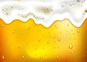 realistic beer background with lush white foam, bubbles and dripping drops vector