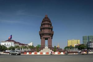 independence monument landmark in central downtown phnom penh city cambodia photo