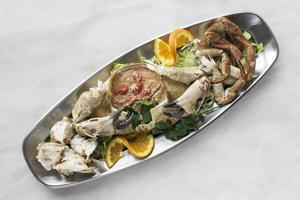 crab mayonnaise tapas snack platter in barcelona spain restaurant photo