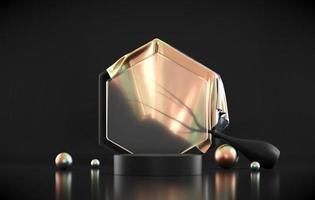 Plataforma de podio de objetos holográficos para escaparate de productos 3D Render foto