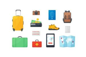 Travel And Vacation Flat Design Concept, tourists items, leisure, rest, purse, wallet, boots, first aid kit, suitcase, camera, money, passport, backpack, navigator, phone, map vector
