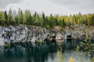 Abandoned marble canyon in the mountain park of Ruskeala, Karelia, Russia photo