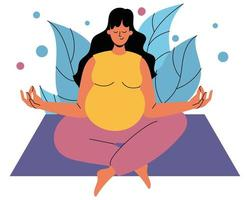 una mujer embarazada está sentada sobre una alfombra en posición de loto. una mujer embarazada está sentada con los ojos cerrados sobre el fondo del follaje. el concepto de armonía, tranquilidad y salud mental foto