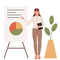 Young business woman with a presentation screen.Business lady or company worker. vector