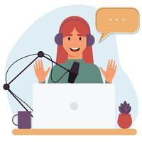 Cartoon smiling woman is recording an audio podcast. vector