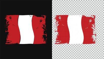 Peru Flag Transparent Watercolor Painted Brush vector