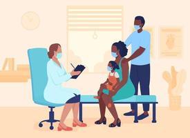 Ilustración de vector de color plano de consulta médica. médico general de la reunión familiar. cita clínica. médico con pacientes personajes de dibujos animados 2d con interior sobre fondo