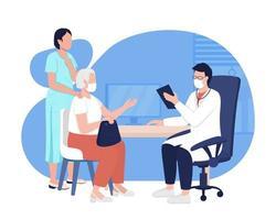 médico consulta 2d vector ilustración aislada. visita al médico. diagnósticos de salud. médico general con pacientes personajes planos sobre fondo de dibujos animados. escena colorida de atención médica