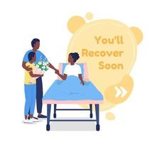 Recover soon vector quote box with flat character. Family visiting patient. Health care in hospital. Speech bubble with cartoon illustration. Colourful quotation design on white background