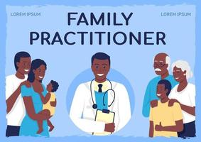 Health care services poster flat vector template. Family practitioner. Brochure, booklet one page concept design with cartoon characters. Physician visit flyer, leaflet with copy space