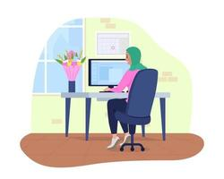 Workplace with gifted bouquet 2D vector isolated illustration. Female employee received flowers. Woman sitting at computer desk flat character on cartoon background. Office colourful scene