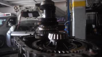 Car Transmission Gears on Workshop Garage video