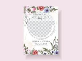 Romantic floral wedding invitations card vector