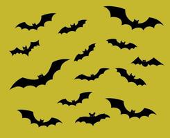 Bats Objects Vector Signs Symbols  Illustration With Yellow Background