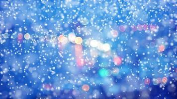 City light blur bokeh and Snowfall video