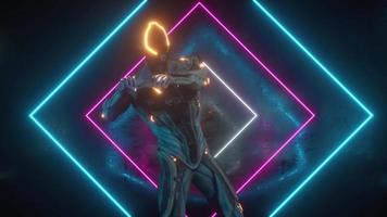 Dancing alien robot on a metal background with bright neon lights video