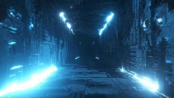 Endless flight in a futuristic metal corridor with neon lighting video