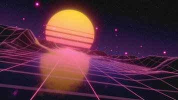 Retro futuristic flight in space with a polygonal mesh on the generated hills and floor video