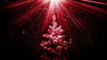 Christmas tree in red light beams loopable animation video