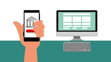 finances and economy online with smartphone video