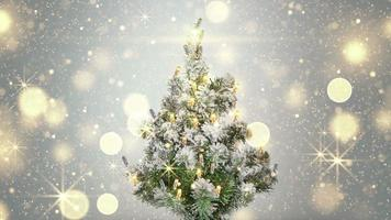 Christmas tree and gold sparkles lights loopable video