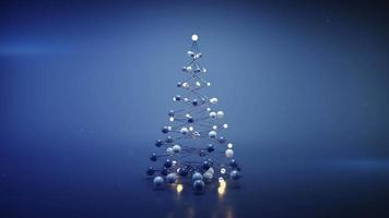 Blue wireframe mesh of christmas tree video