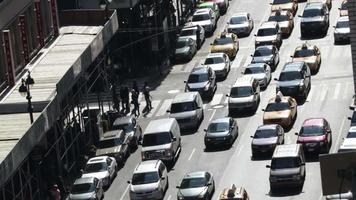 Time lapse of traffic congestion and pedestrians on a busy New York street video
