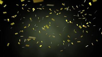 Animation of golden confetti falling down on black background video