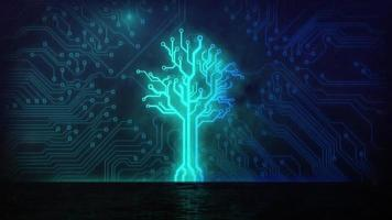 Animation of tree formed with computer processor integrated circuit board elements video