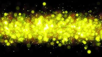 animation de boucle de ligne de particules de bokeh de lumière jaune video