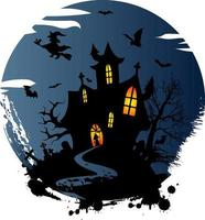 witch Haunted House  Halloween creepy illustration t shirt design with  Pumpkins Cat and Bats vector