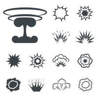Bomb icons, bang and exploding symbols. Vector illustration