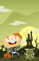 Boy Getting Ready For Trick or Treat vector