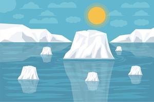 ilustración vectorial calentamiento global el iceberg se rompió, glaciar derretido vector
