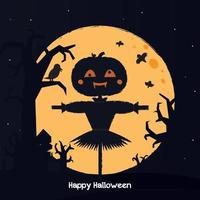 Halloween pumpkin scarecrow on a wide field with the moon on a scary night vector