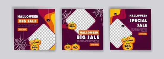 Social media post template for halloween sale. Sales banner for halloween celebration. vector
