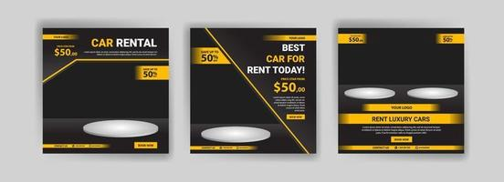 Social media post template for automotive car rental service. Banner vector for social media ads, web ads, business messages, discount flyers and big sale banners.