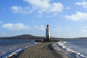 Seascape with Tokarevsky lighthouse. Vladivostok, Russia photo